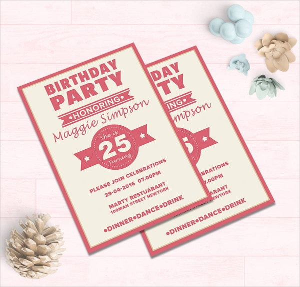 Birthday Party Invitation Card Template  Birthday Party Card Template
