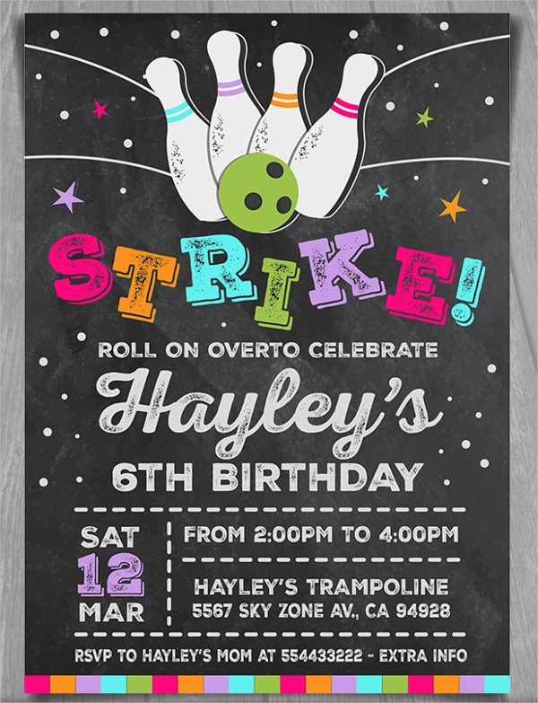 Bowling Birthday Party Invitation