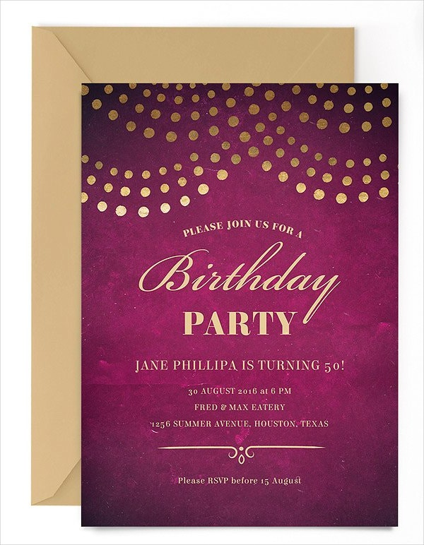 Birthday Party Invitations Free PSD Vector AI EPS Format - Elegant birthday invitation free templates