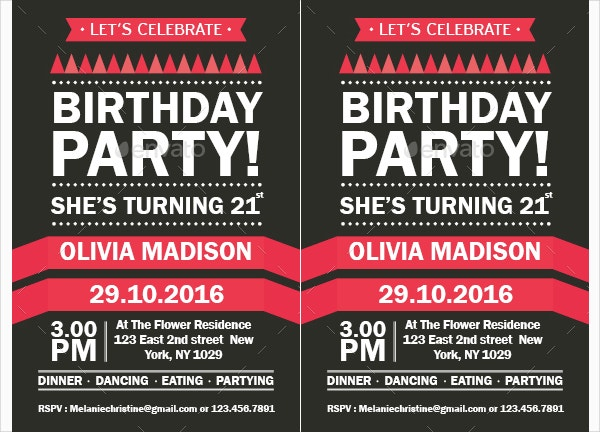 psd birthday party invitation template