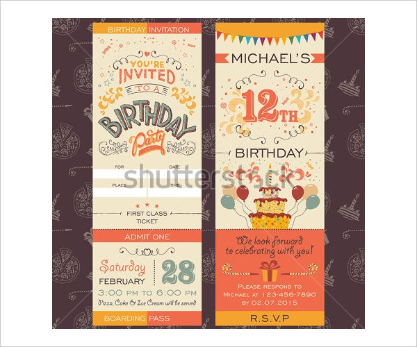 Vintage Happy Birthday Invitation