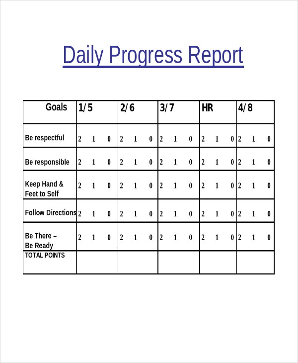 daily progress report template