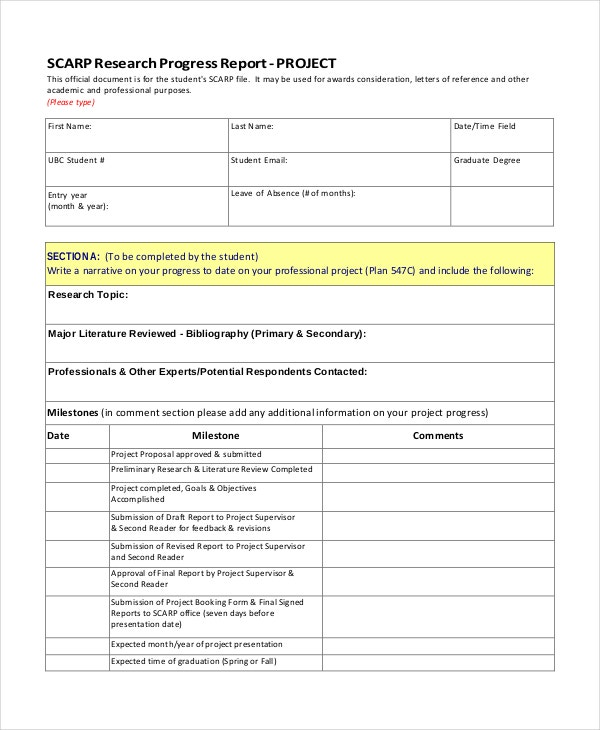 sample research progress report template