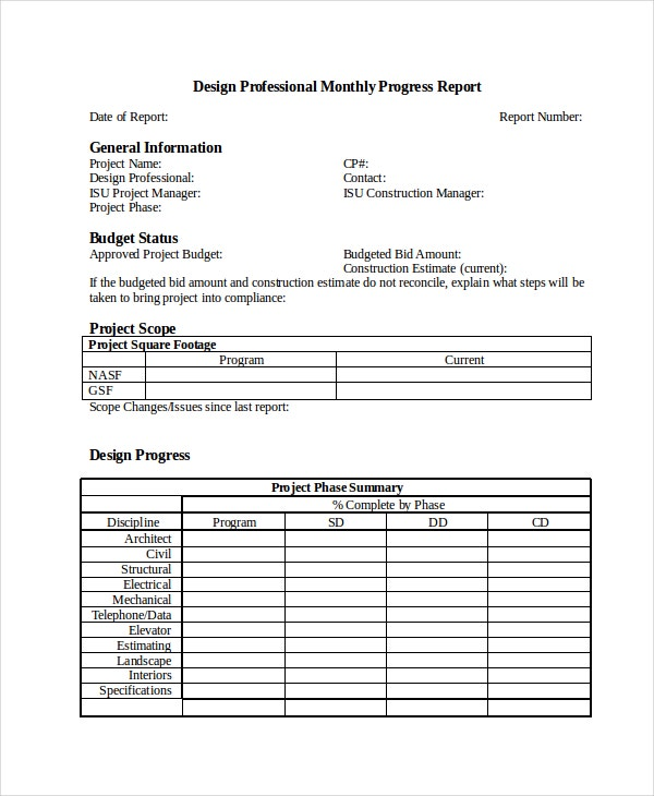 10 Progress Report Templates Free Sample Example Format – Construction Project Report Format
