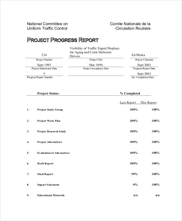 Progress Report Templates   Free Sample Example Format