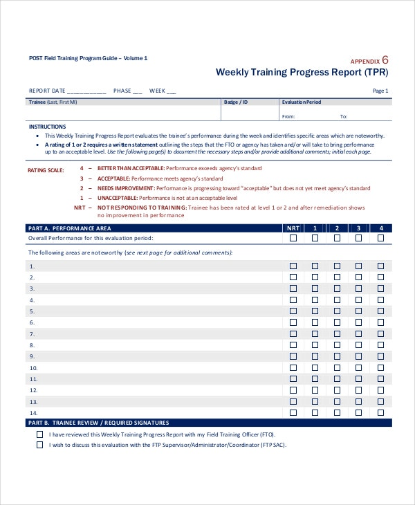 Progress Report Template 38 Free Sample Example Format – Training Report
