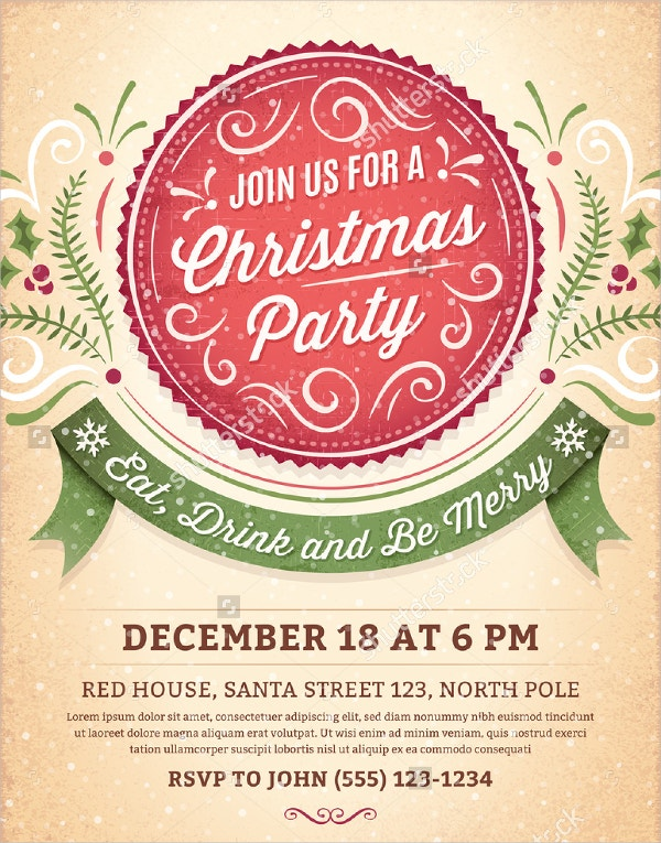 Ornamental Christmas Party Invitation  Free Template For Party Invitation