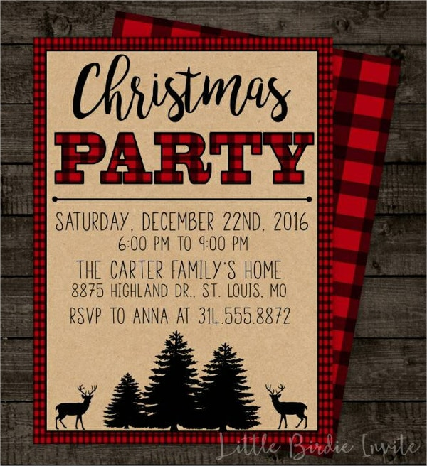 Plaid Christmas Party Invitation