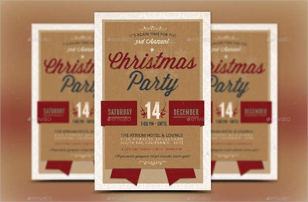 Retro Christmas Party Invitation Template