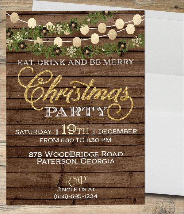 rustic christmas invitation
