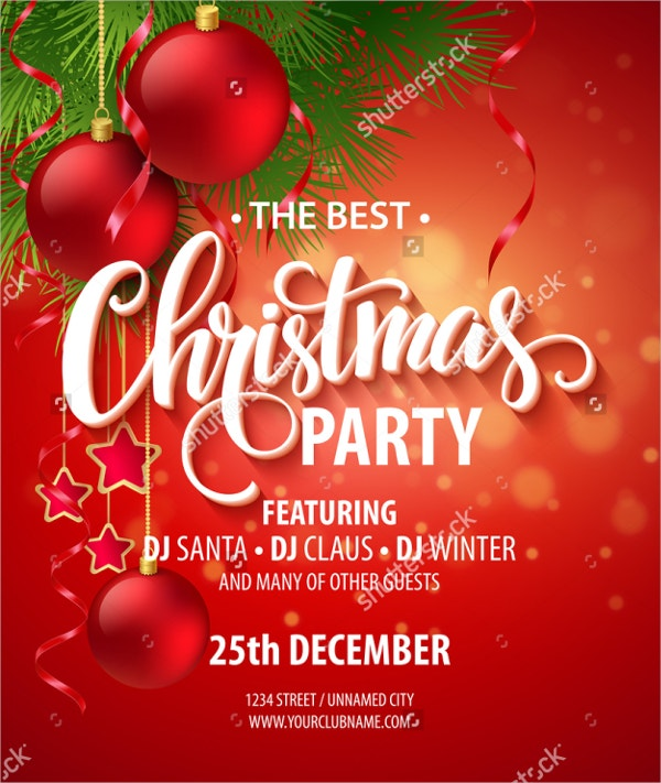 Vector Christmas Party Invitation Template