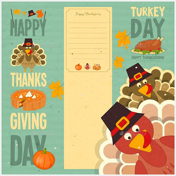 cartoon happy thanksgiving card