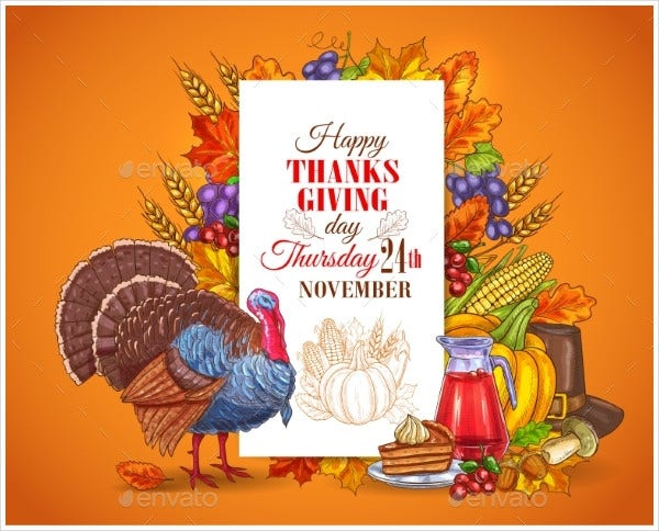 Happy Thanksgiving Day Invitation Card