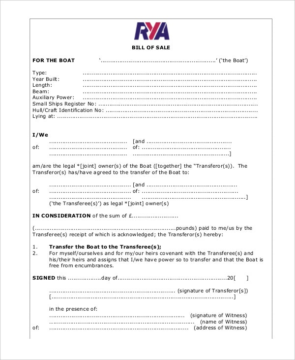 Boat Bill Of Sale  Free Sample Example Format  Free