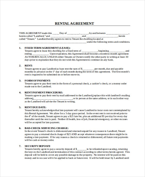 16  rental contract templates