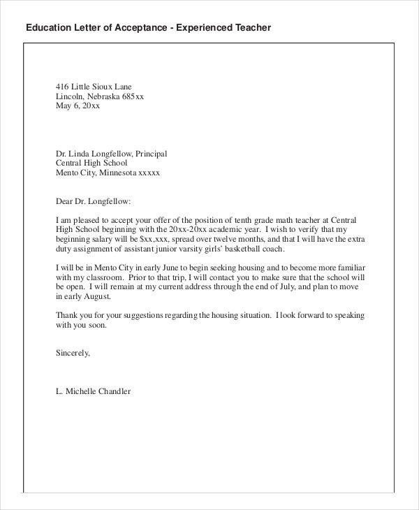 Teacher job acceptance letter idealstalist teacher job acceptance letter spiritdancerdesigns Gallery