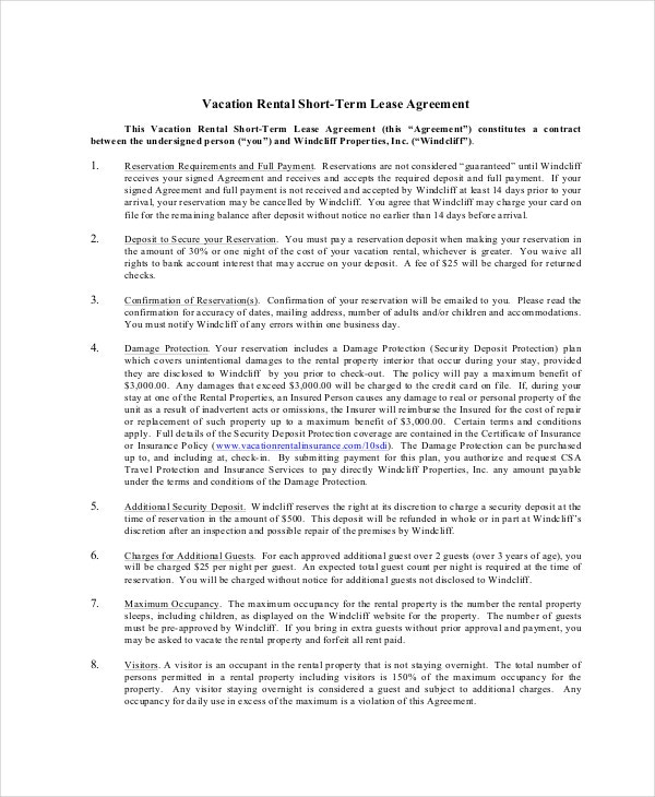 Vacation Rental Contract Template