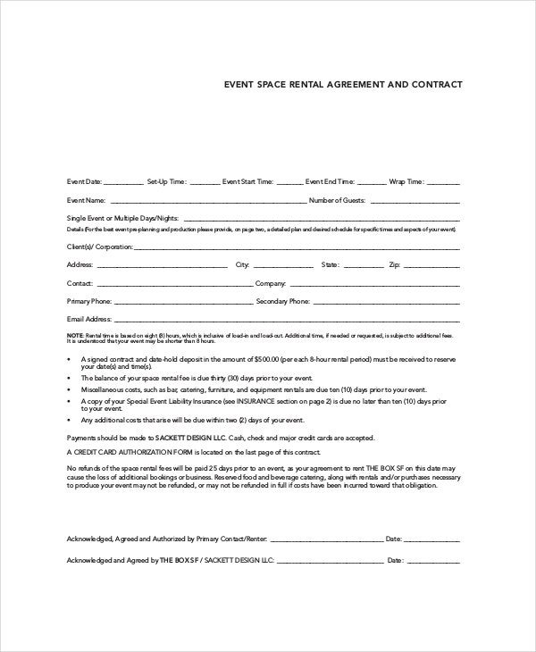 event space rental contract template