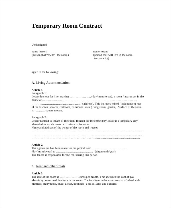 Temporary Room Contract Template