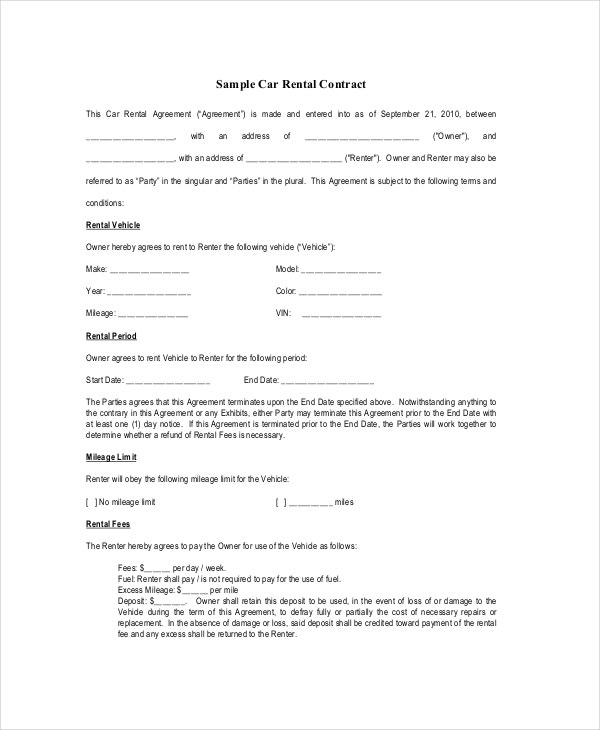 Rental Contract - 10+ Free PDF, Word Documents Download | Free ...