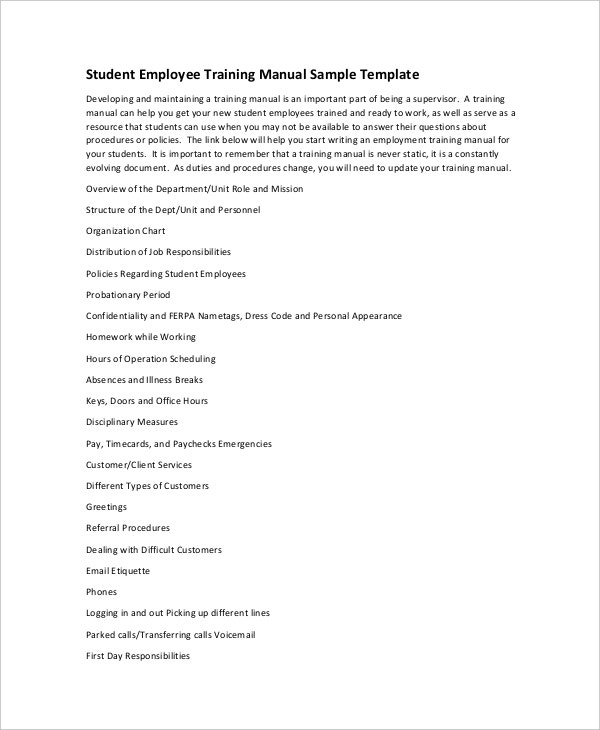 Sample Student Employee Training Manual Template Awesome Ideas