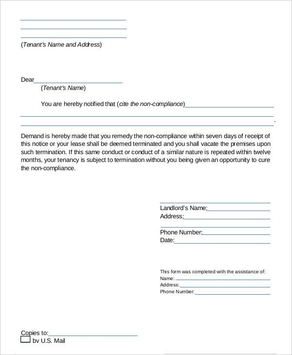Lease Termination Letter 7 Free Word PDF Documents Download – Landlord Lease Termination Letter