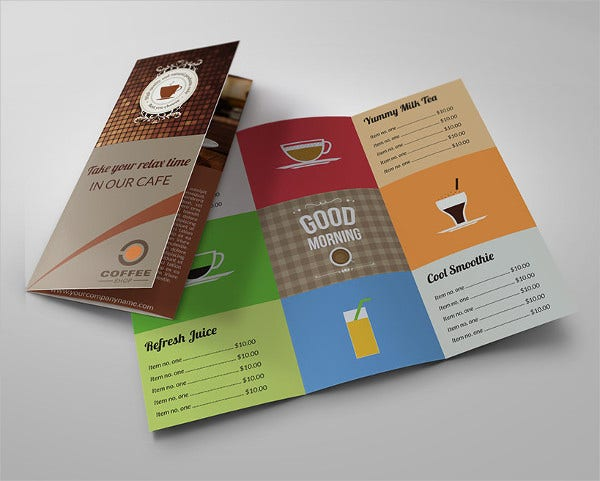 Cafe Tri-Fold Brochure Template