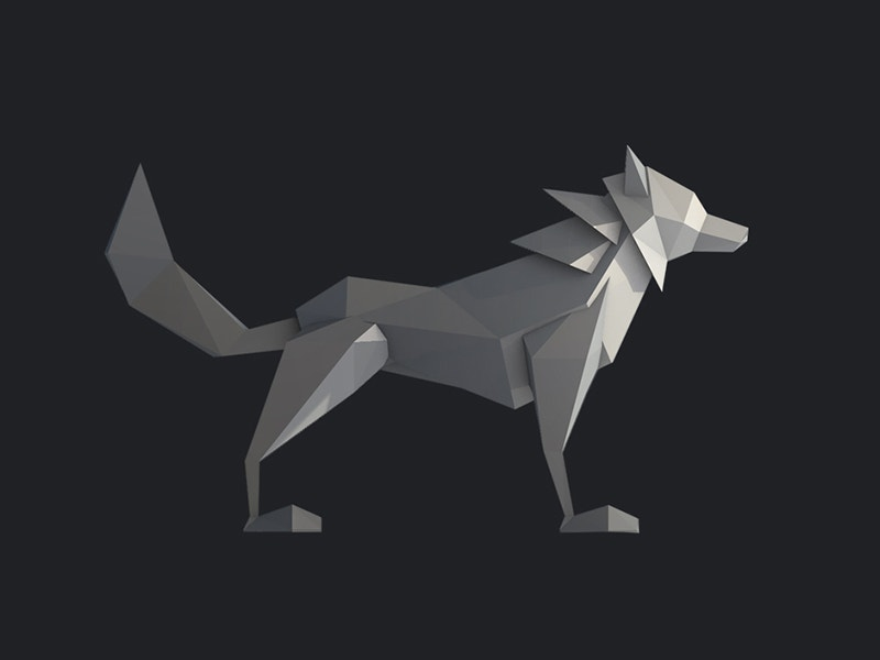 poly wolf paper art
