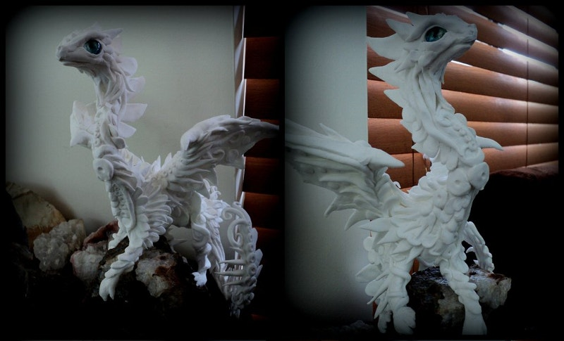 Hand Made White Papermagiclay Dragon