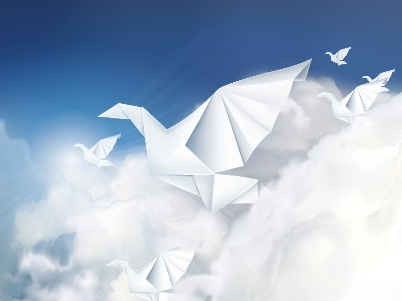 creative paper origami doves