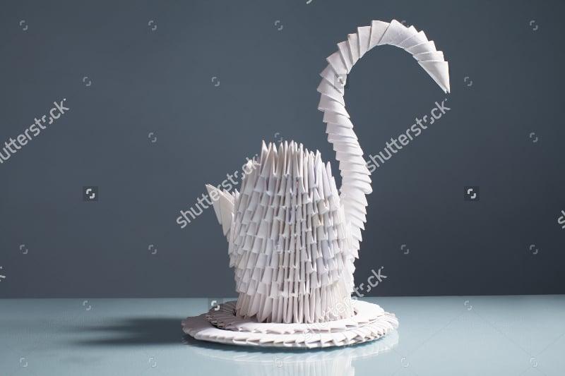 3d Origami Paper Art of Swan