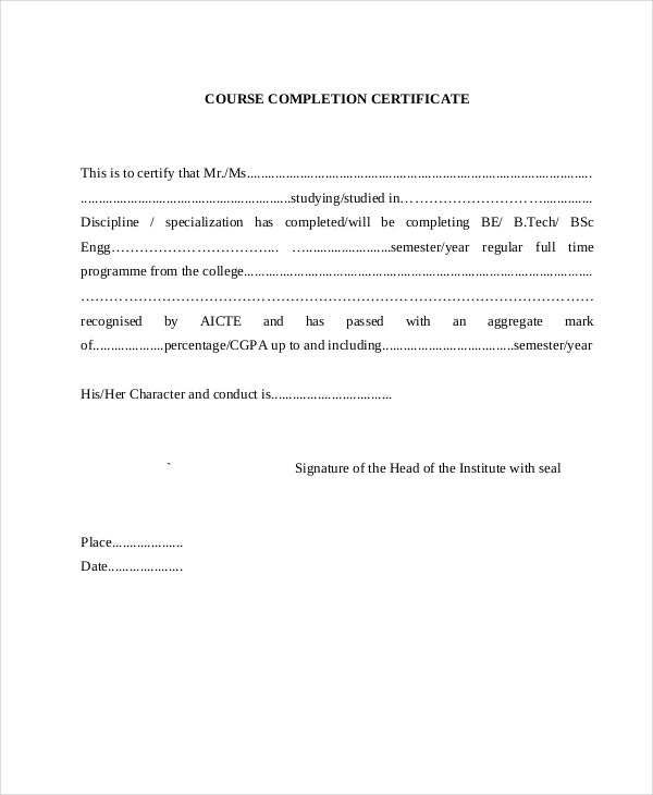 Course Completion Certificate Template  Course Completion Certificate Format