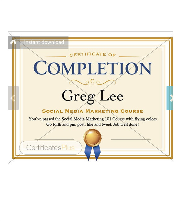 Certificate Of Completion Template Free Download | Certificate Of Completion 25 Free Word Pdf Psd Documents