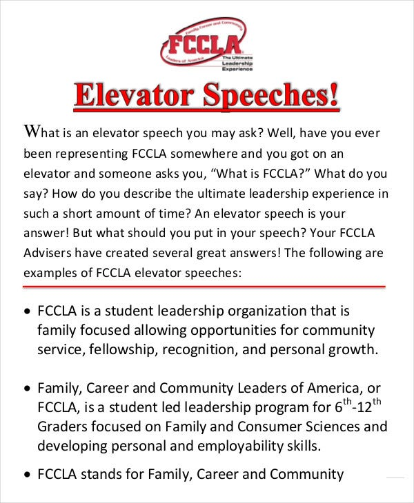 Elevator Speech Examples 9 Free Word PDF Documents Download – Speech Examples