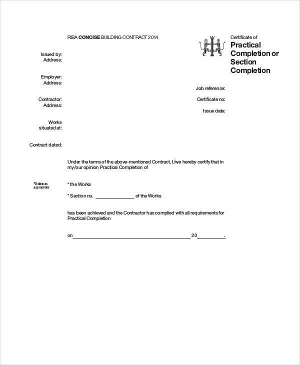 Certificate of completion 25 free word pdf psd for Jct practical completion certificate template
