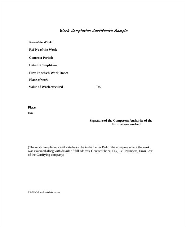 work-completion-certificate-download