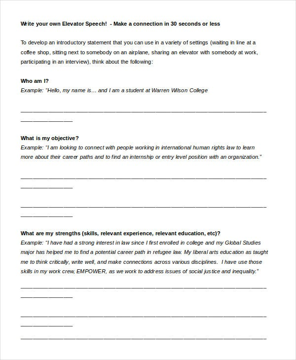 elevator-speech-worksheet-template-in-word