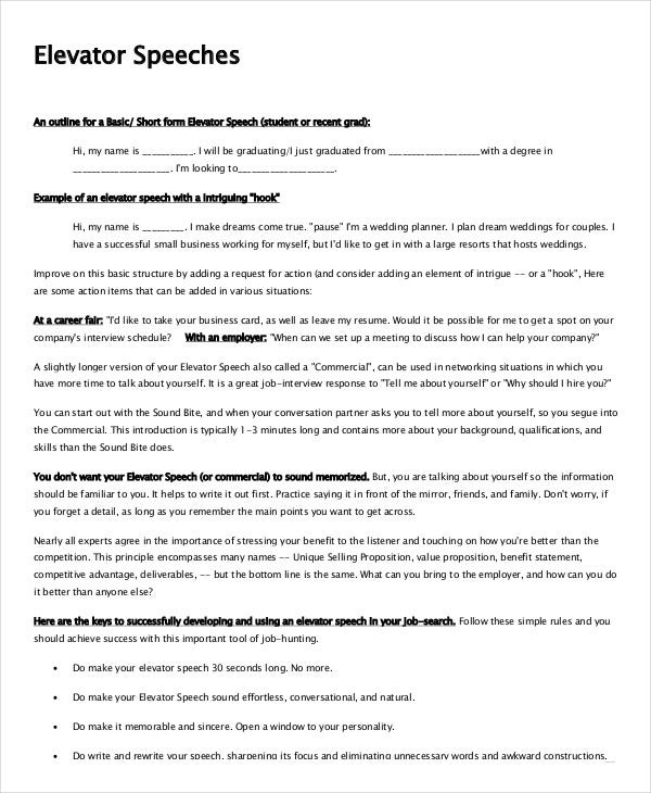 sample elevator speech interview template