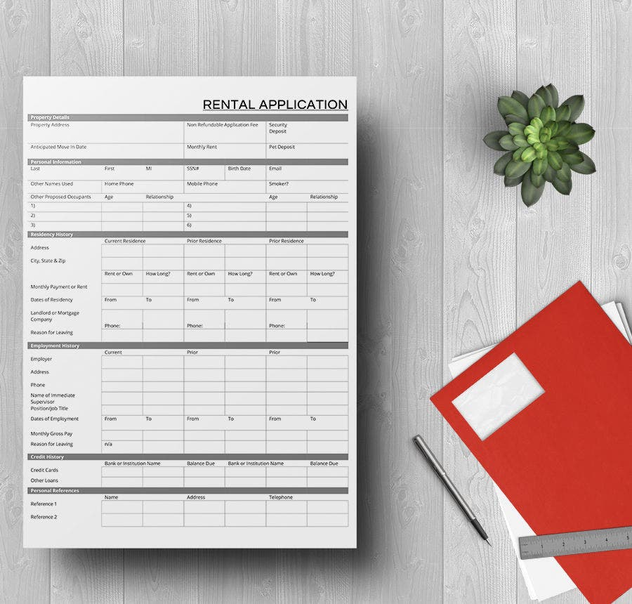 rental application template