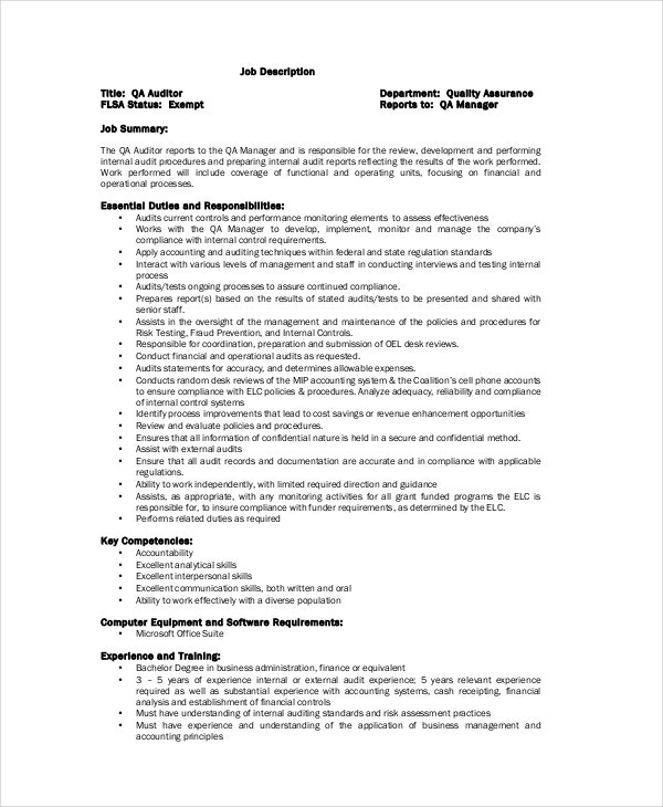 Quality Control Job Description 11 Free PDF Word Documents – Auditor Job Description