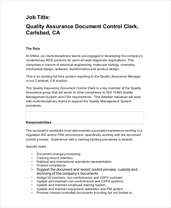 Quality Control Clerk Job Description