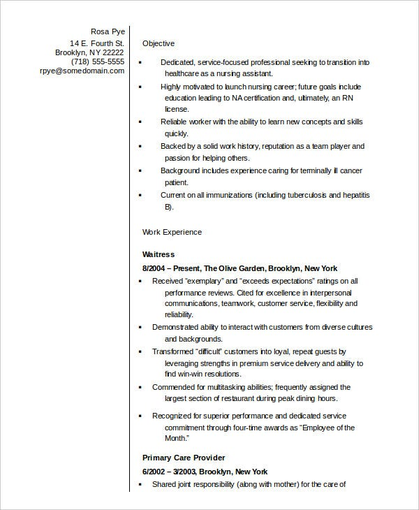 Nursing Assistant Resume In Word