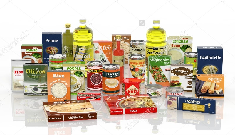 packaged food isolated on white background