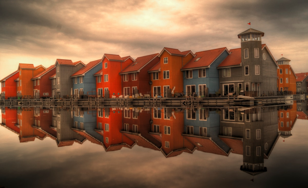 Colorful Buildings Reflection