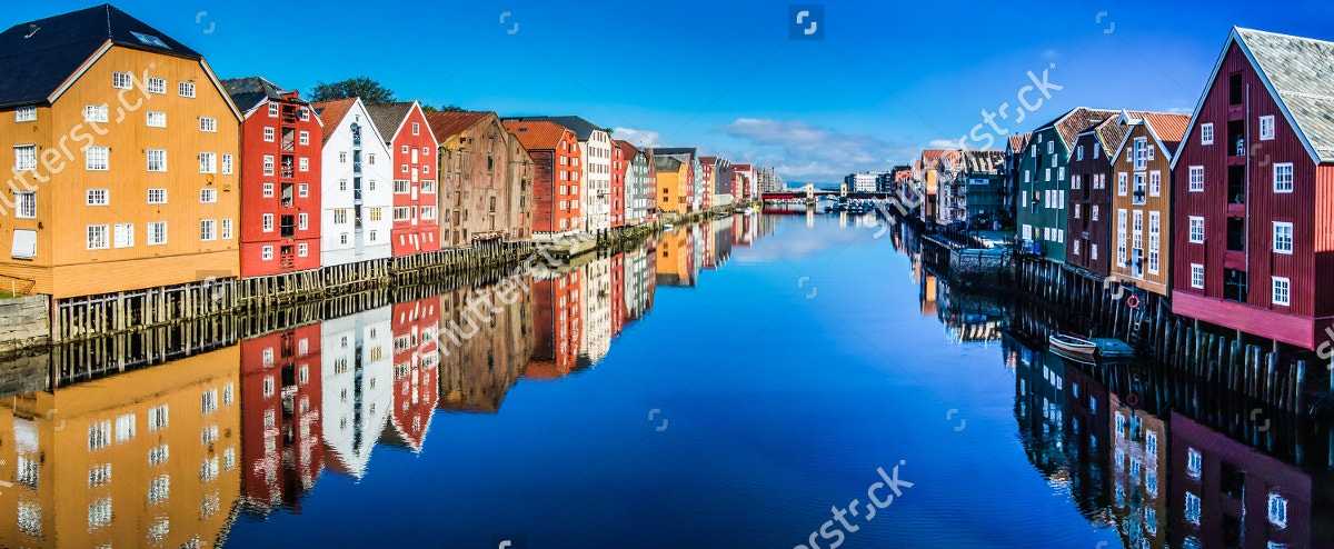 Colored Houses in Trondheim City
