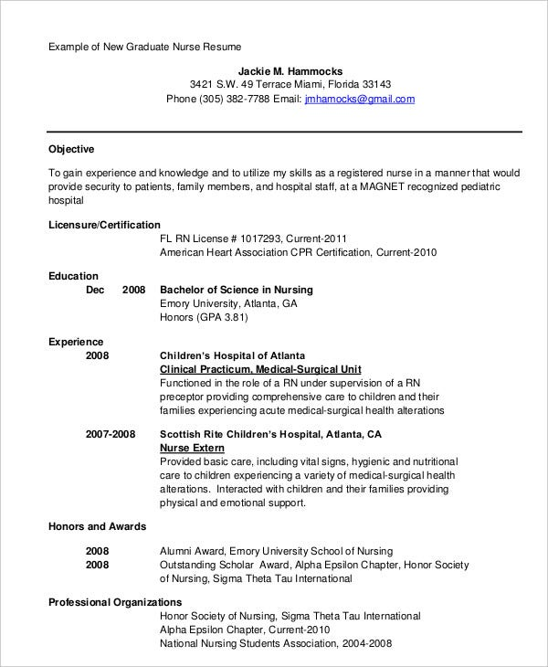Graduate Nurse Resume In PDF  Example Nursing Resume