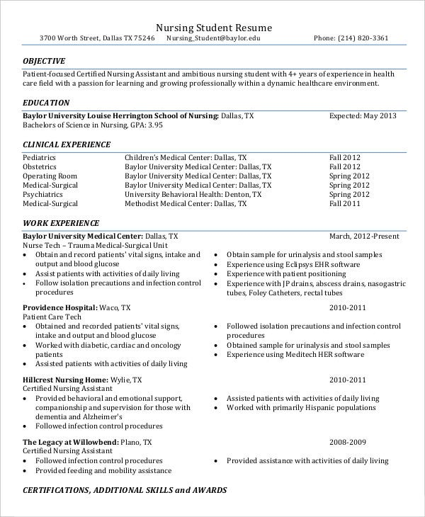 Nurse Resume Templates  Free Word Pdf Documents  Creative Template