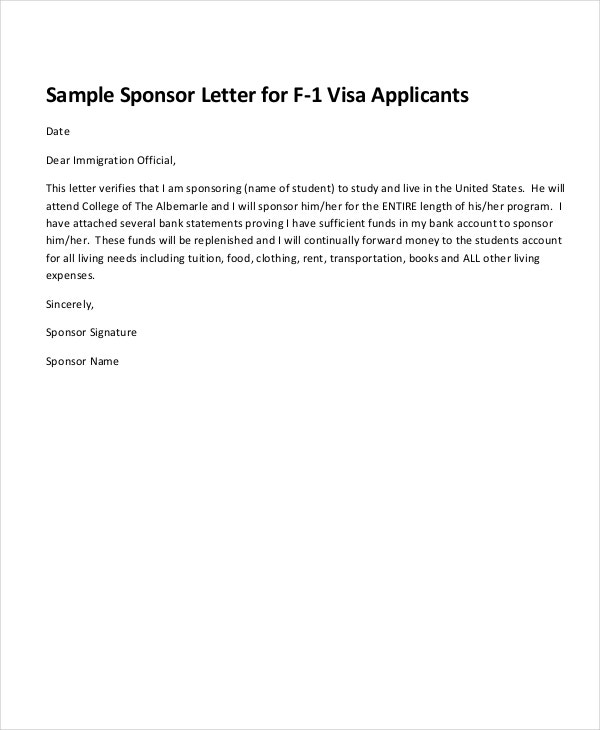 Sponsorship Letter Example 13 Free Word PDF PSD Documents – Immigration Sponsorship Letter