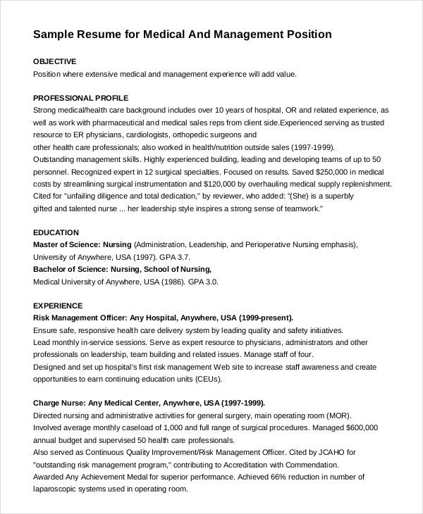 Medical U0026 Management Position Nurse Resume  Example Nursing Resume