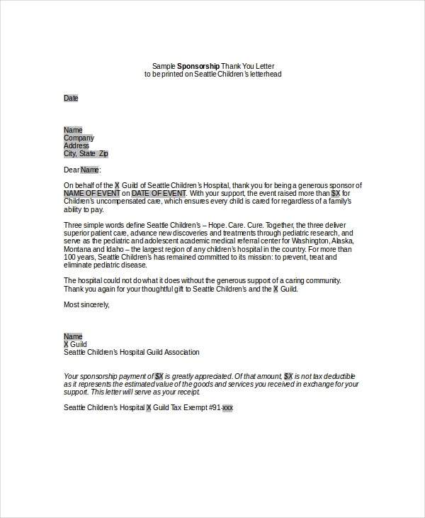 sponsor thank you letter 10 sponsorship letter samples word excel amp pdf templates 24943 | Sponsorship Thank You Letter In Word
